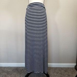 J Crew Navy Blue Striped Maxi Skirt